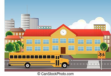 schoolhouse - illustration of school building with street...
