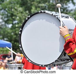 Drummer Playing Bass Drum in Parade - Drummer Playing A Bass...