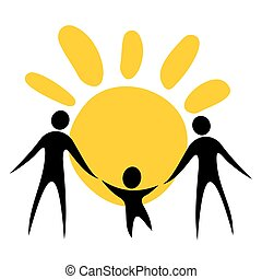 gay family with child - Two men silhouettes with sun. Gay...