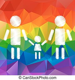 gay family with kid - Gay family with kid on a rainbow...