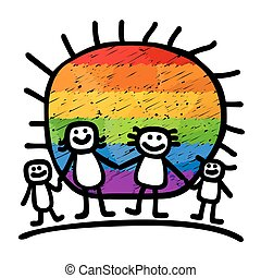 gay family - Gay family with children and sun on a white...