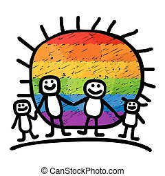 happy gay family - Gay family with child. Happy life symbol.