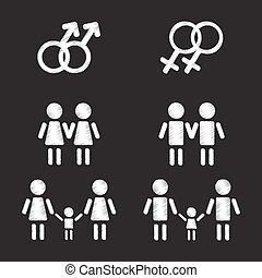 gay family symbols set - Gay family symbols set on a black...