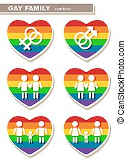 gay family symbols - Gay family symbols set isolated on a...