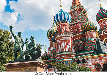 Saint Basil's Cathedral and monument to Minin and Pozharsky...