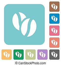 Flat coffee beans icons on rounded square color backgrounds