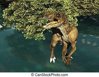 Velociraptor, el, Dinosaurio, 3D, interpretación