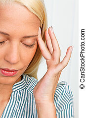 Young woman with migraine headache - Young women with...