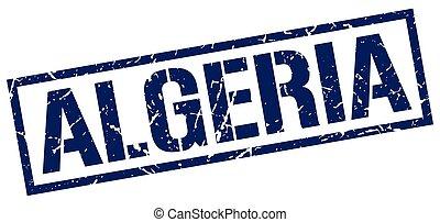 Algeria blue square stamp