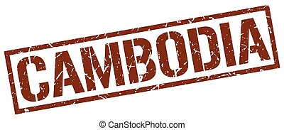 Cambodia brown square stamp