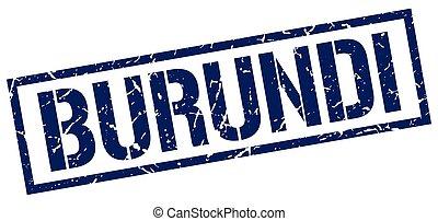Burundi blue square stamp