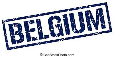 Belgium blue square stamp