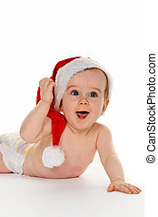 Small child with Santa Claus hat baby isolated on white...