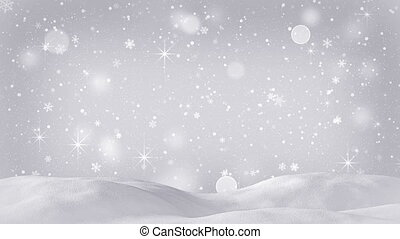 beautiful snow drift and silver snowfall seamless loop -...