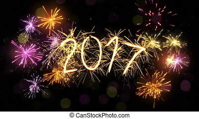 new year 2017 sparkler sign and firework loop