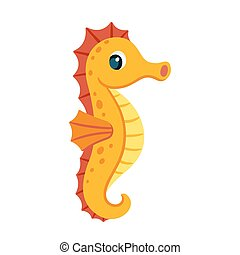 Cute cartoon seahorse - Cute cartoon orange seahorse....