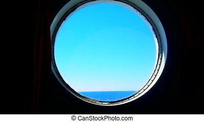 Porthole of the Ocean Liner - Huge Waves of The Sea From...