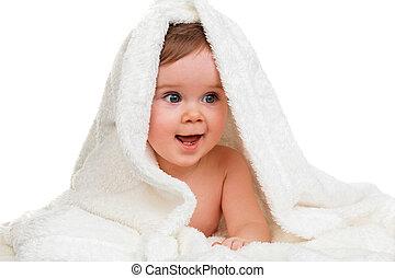 pequeño, marveling, niño, bebé, manta