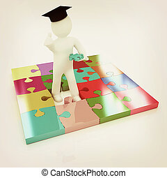 3d man in a graduation Cap with thumb up with individual...