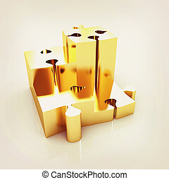 Concept of growth of gold puzzles . 3D illustration. Vintage...