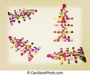 fish, ensemble,  Illustration, icônes, vendange,  Puzzle,  Illustration,  thème, conception,  Style,  3D