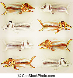 Set of 3d metall illustration of fish skeleton 3D...