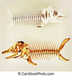 3d metall illustration of fish skeleton 3D illustration...