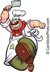 Angry chef - Angry cartoon chef running with a knife. Vector...