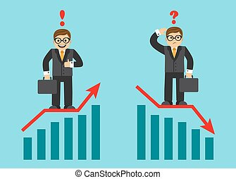 success and failure in business - graph growing sales and...