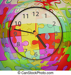 Colorful mosaic clock icon 3D illustration Vintage style