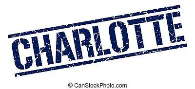Charlotte blue square stamp