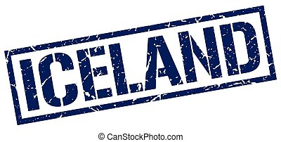 Iceland blue square stamp