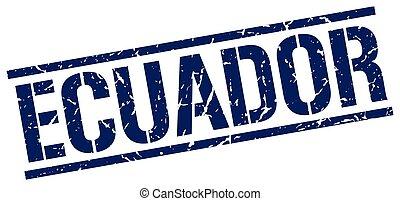 Ecuador blue square stamp