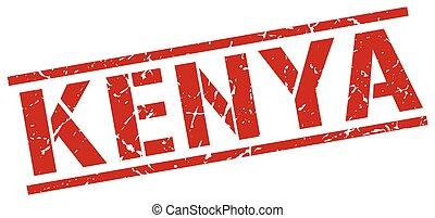 Kenya red square stamp