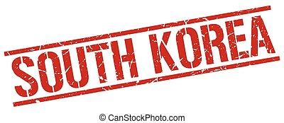 South Korea red square stamp