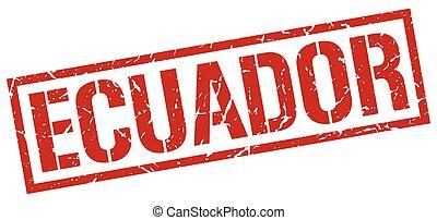 Ecuador red square stamp