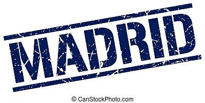 bleu,  Madrid, carrée, timbre