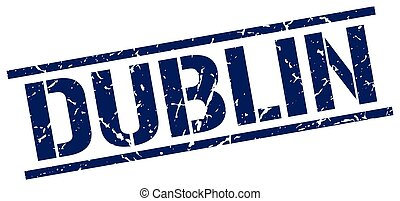Dublin blue square stamp