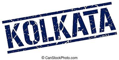 Kolkata blue square stamp