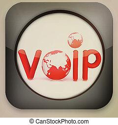 """brillante, icono, con, texto, """"VoIP"""", 3D,..."""
