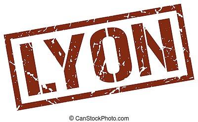 Lyon brown square stamp