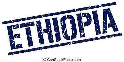 Ethiopia blue square stamp