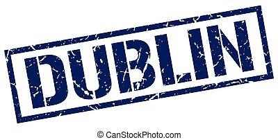 Dublin blue square stamp