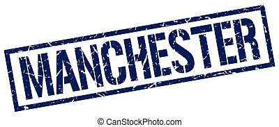 Manchester blue square stamp