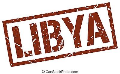Libya brown square stamp