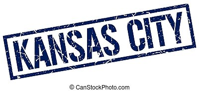 Kansas City blue square stamp