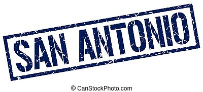 San Antonio blue square stamp