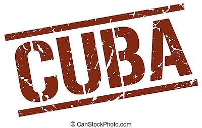 Cuba brown square stamp