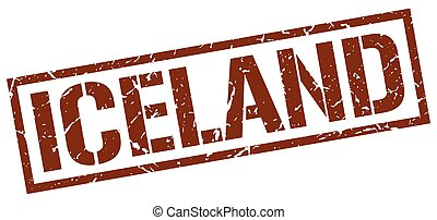 Iceland brown square stamp