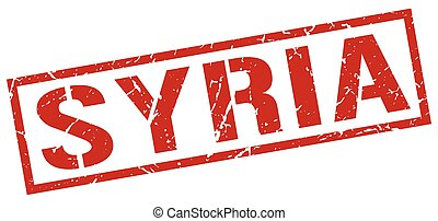 Syria red square stamp